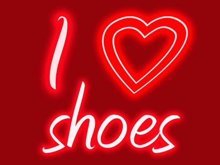 Red and pink sign with glow stating I heart shoes