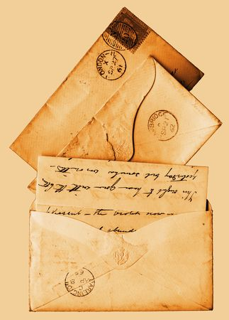 Sepia styled letters and envelopes from the age of Queen Victoria - these are all from the 1860s Editorial