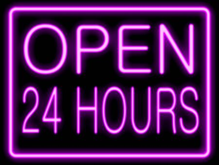 24: Abstract resembling 24 hours neon sign - suitable for night time retail concepts