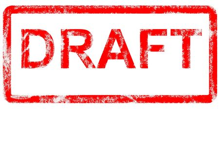 Grungey rubber stamp stating DRAFT with copyspace