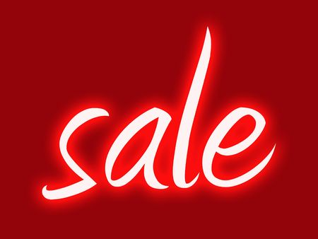 Red retro style shop window sale sign  Stock Photo