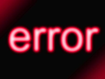 Abstract red neon glow error message
