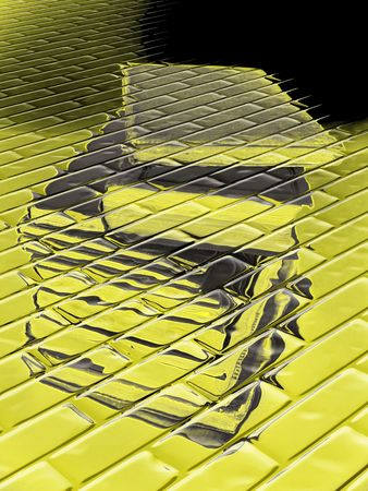 abstracted: Pile of antiquarian books in yellow tone, abstracted against a brickwork pattern