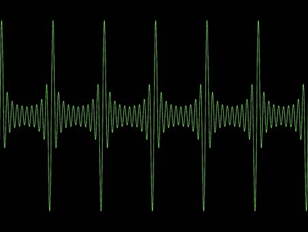 synthesiser: Green modulated sine wave on black copyspace