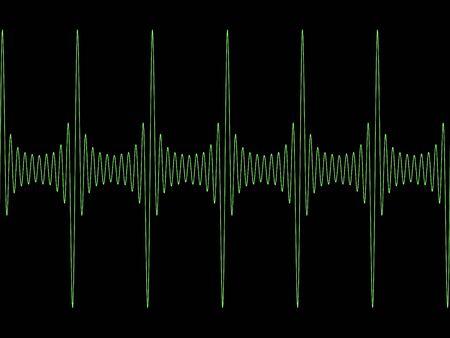Green modulated sine wave on black copyspace