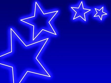 broadway: Swoosh der blau leuchtende Sterne in Neon-Stil