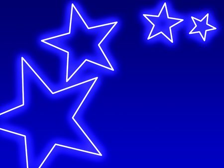 five pointed: Swoosh of blue stars glowing in neon style