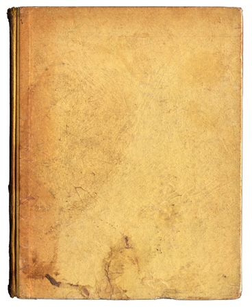 Grubby old beige book cover showing wear, tear, ageing and creases