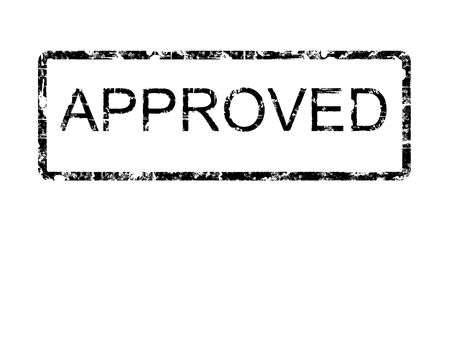 Black grunge style rubber stamp design with the word APPROVED within a border with rounded corners, on a plain white background Banque d'images
