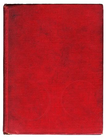 grubby: Grubby old red book cover with cloth covered boards with faint coffee ring stains