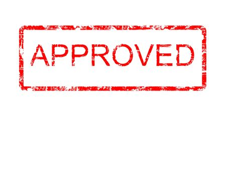 Red grunge style rubber stamp design with the word APPROVED within a border with rounded corners, on a plain white background