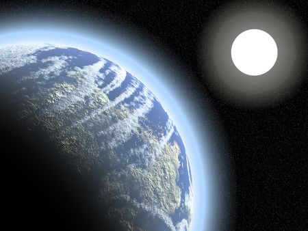 earthlike: Earthlike planet and its atmosphere against a dense starfield and distant sun
