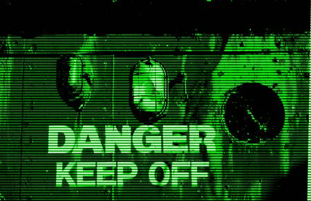 Scene in the style of night vision imaging of a structure with the words danger keep off