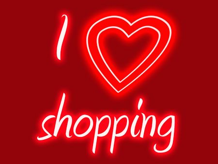 choosing clothes: I heart shopping sign in glowing red and pink