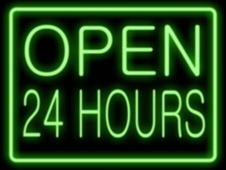 neon sign: Abstract resembling 24 hours neon sign - suitable for night time retail concepts
