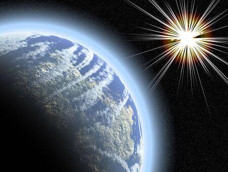 convulsion: Starburst earthlike planeta y contra una densa Starfield Foto de archivo