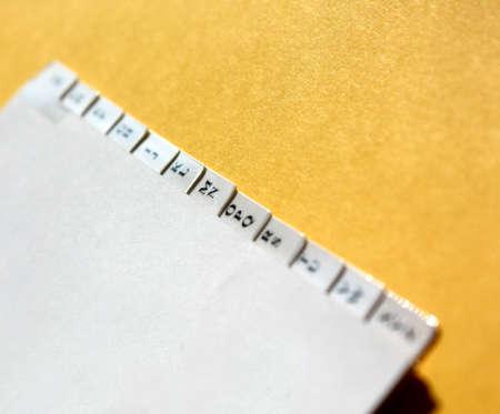 adresses: Organiser tabs - shallow depth of field focussing on MN tab