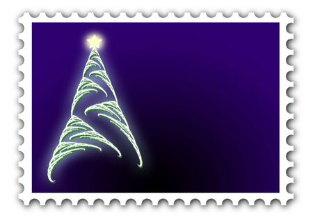 Christmas tree on postage stamp. Great for gift tags, envelopes scrapbooking and more photo