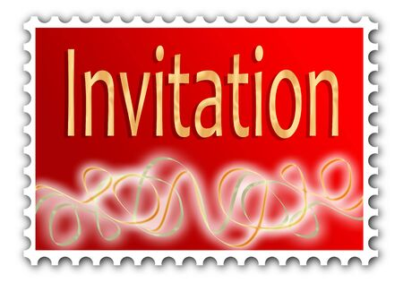 Invitation as a postage stamp. Great for a sticky label adornment on the envelope or use it as the invitation itself. photo