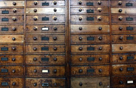 drawers: Old archive drawers cabinet Stock Photo