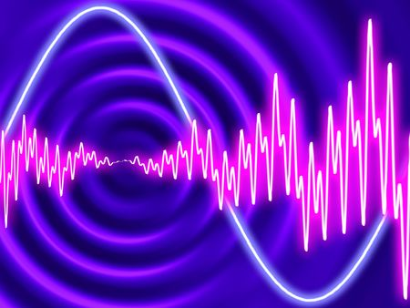 vibrations: Electro disco - Concentric ripples with waveforms Stock Photo