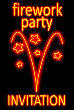 guy fawkes night: Fireworks party invitation in a neon sign style