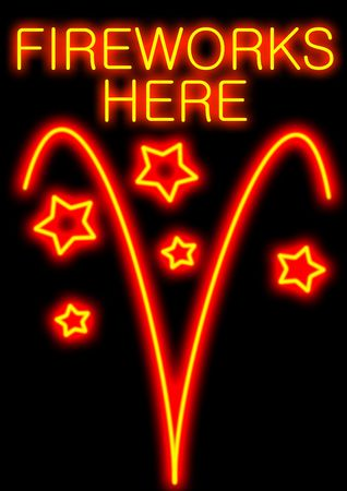 guy fawkes night: Marketing sign for firework sellers or display organisers in neon style Archivio Fotografico