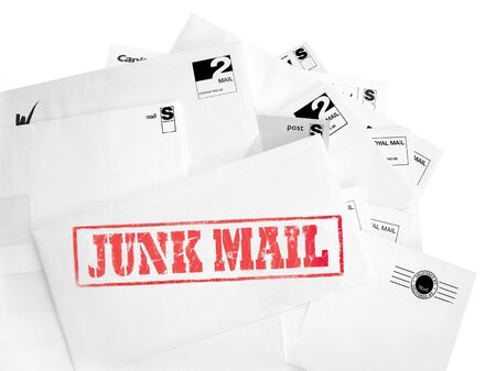 Junk Mail rubber stamped onto envelopes Stock Photo