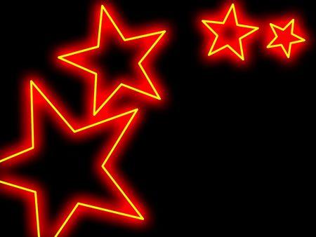 broadway: Swoosh von Sternen in einem Neon-Stil mit Exemplar