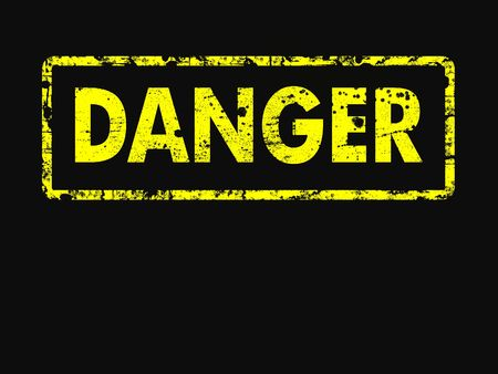 Yellow and black DANGER in a rubber stamp style. With copyspace photo