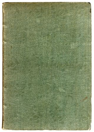 Old 1830s book cover, close up reveals an embossed tree-branches and leaves embossed pattern