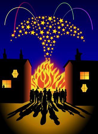 Domestic bonfire and firework party scene Stock Photo - 7934119
