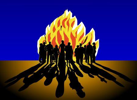 Crowd around bonfire Stock Photo - 7934112
