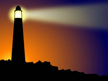 Lighthouse on rocks at sunset or sunrise Stock Photo - 7934138