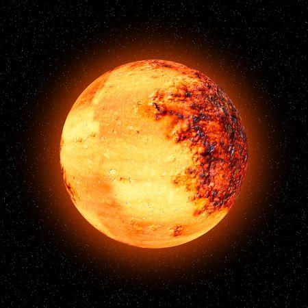 Orange celestial body with starfield