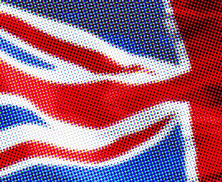 UK flag presented in a halftone effect photo