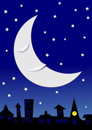 Sleeping moon in a starry night sky over a townscape.