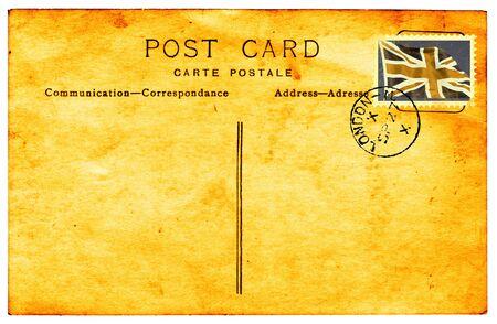 poststempel: Genuiine-Ansichtskarte mit Poststempel und verblasst und gef�rbten faux union Flag Stempel