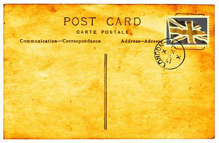 grungey: Genuiine vintage postcard with postmark and faded and stained faux union flag stamp