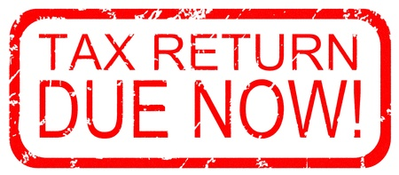 Rubber stamp design stating Tax Return Due Now