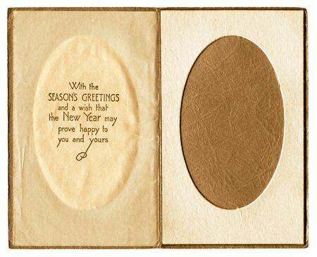Original vintage christmas card photo frame inner. Great for website and scrapbook backgrounds.