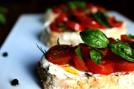mediterrean: bruschetta with tomato and basil Stock Photo