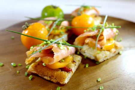 mediterrean: smoked salmon bruschetta