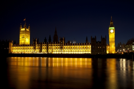 Big Ben and houses of parliament at night photo