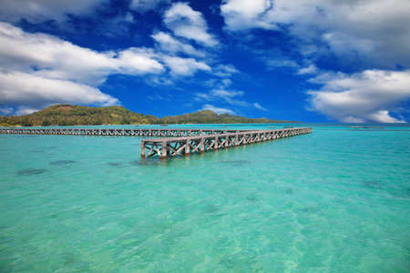 Wooden pier at the tropical island of Karimunjawa, Indonesia