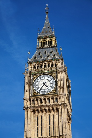 clock tower: Big Ben at Westminster in London, United Kingdom Stock Photo