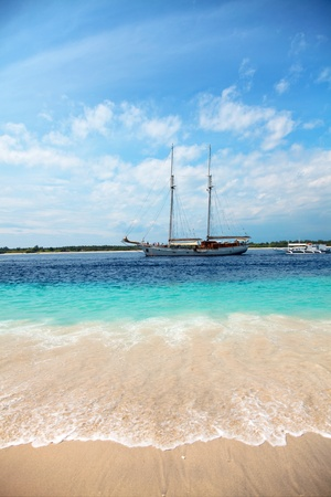 Luxury boat on a stunning beach in Gili Trawangan, Indonesia  photo