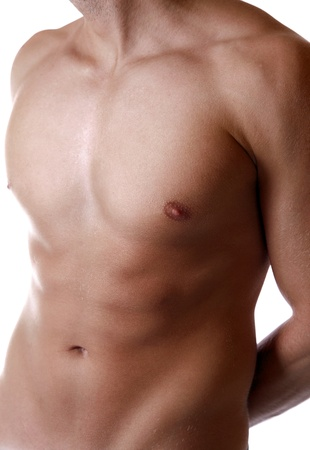 male chest: Young man with a defined body