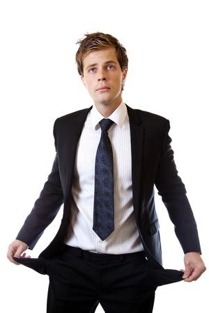 empty pockets: Broke businessman with empty pockets Stock Photo