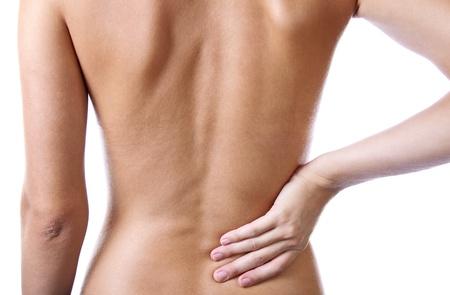 back of woman: Mujer la celebraci�n de la espalda dolorosa